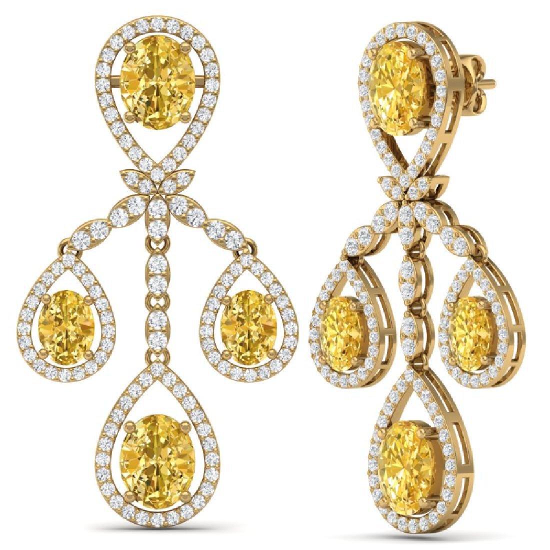 20.69 CTW Royalty Canary Citrine & VS Diamond Earrings - 3