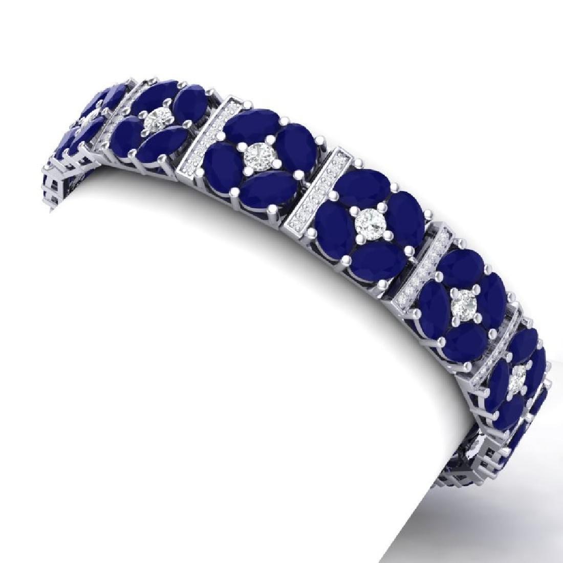48.04 CTW Royalty Sapphire & VS Diamond Bracelet 18K - 2