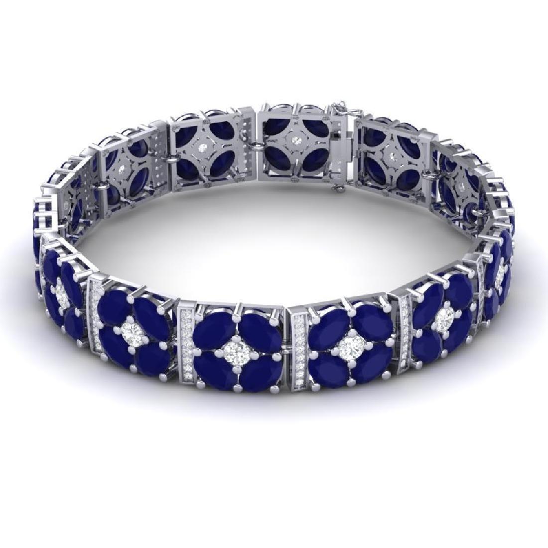 48.04 CTW Royalty Sapphire & VS Diamond Bracelet 18K - 3