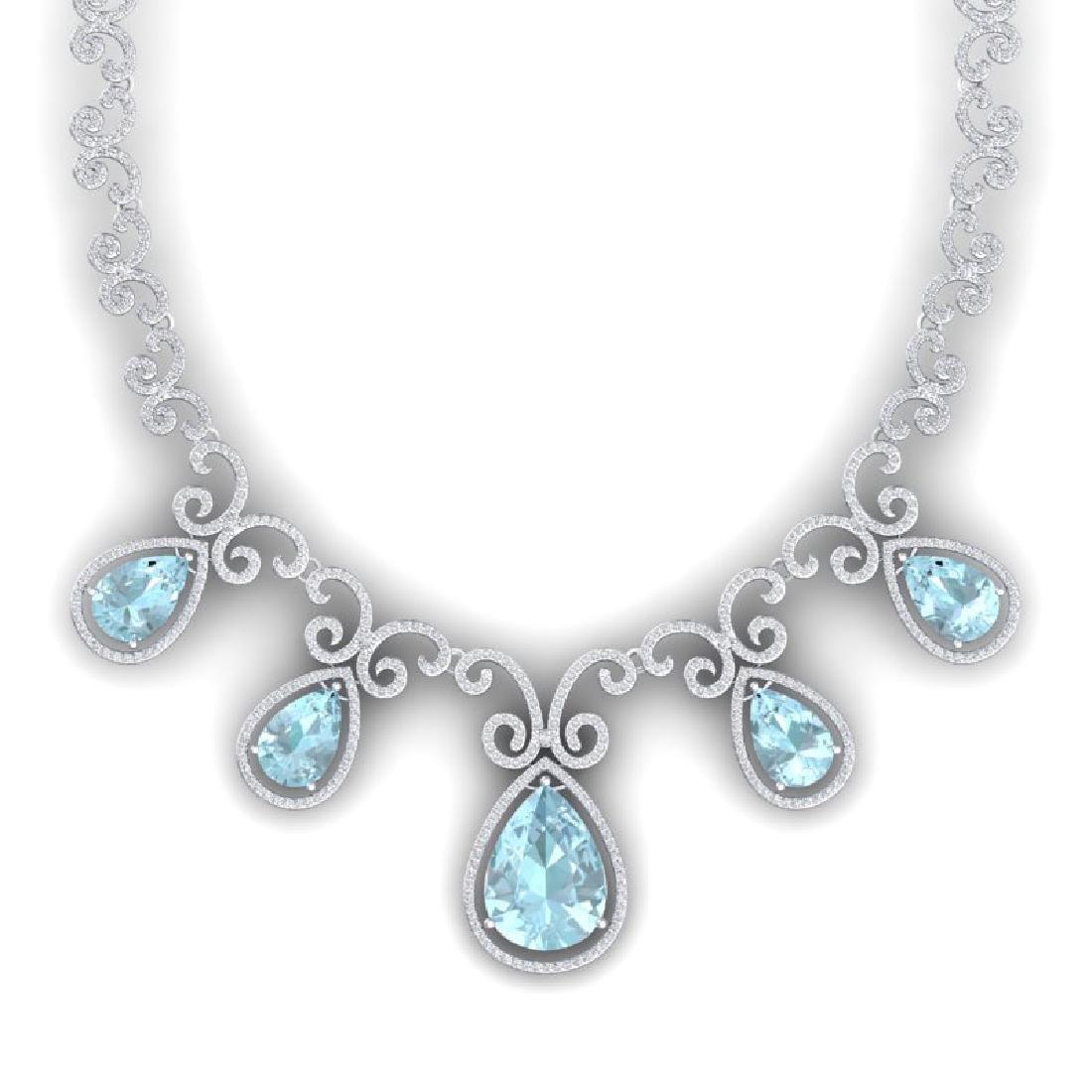 40.45 CTW Royalty Sky Topaz & VS Diamond Necklace 18K