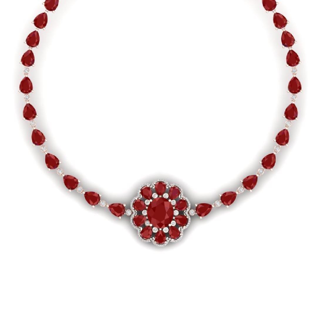 78.98 CTW Royalty Ruby & VS Diamond Necklace 18K Rose - 2