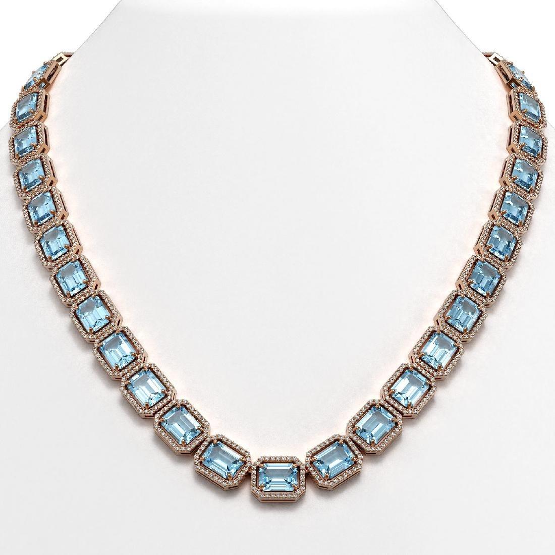 80.98 CTW Aquamarine & Diamond Halo Necklace 10K Rose
