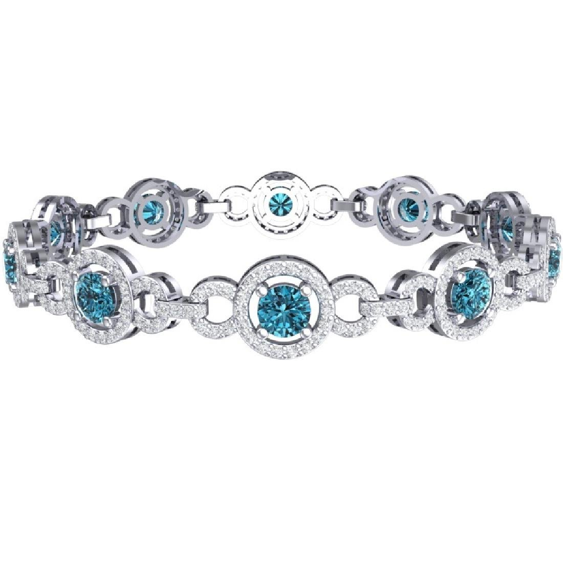 9 CTW SI/I Intense Blue And White Diamond Bracelet 18K - 2