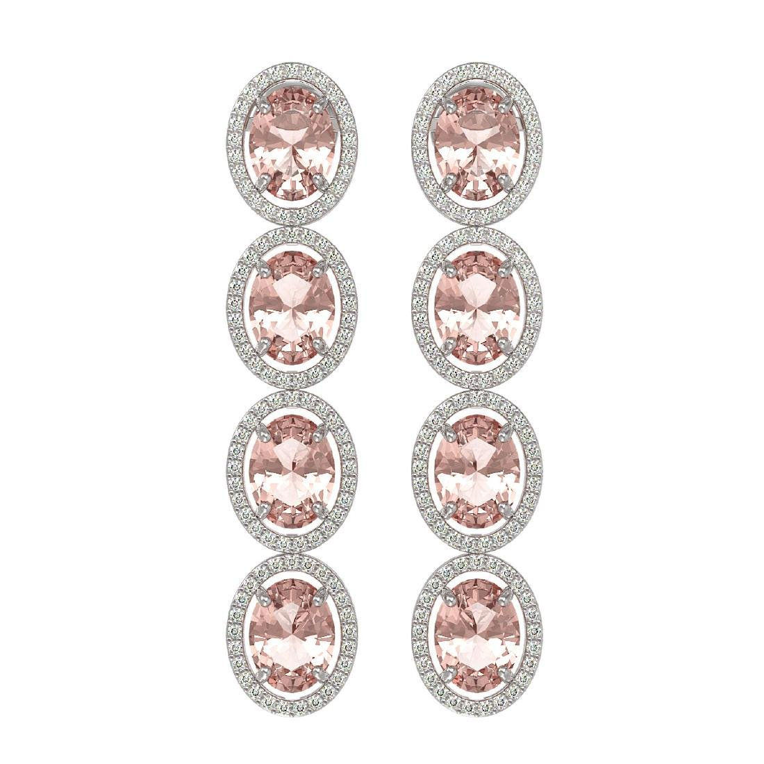 11.4 CTW Morganite & Diamond Halo Earrings 10K White