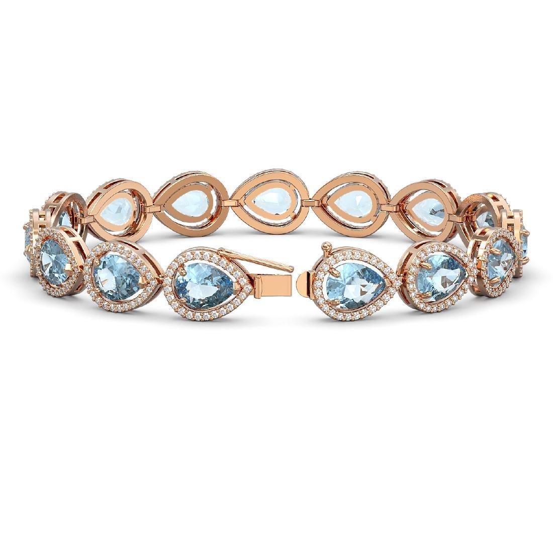 19.85 CTW Aquamarine & Diamond Halo Bracelet 10K Rose