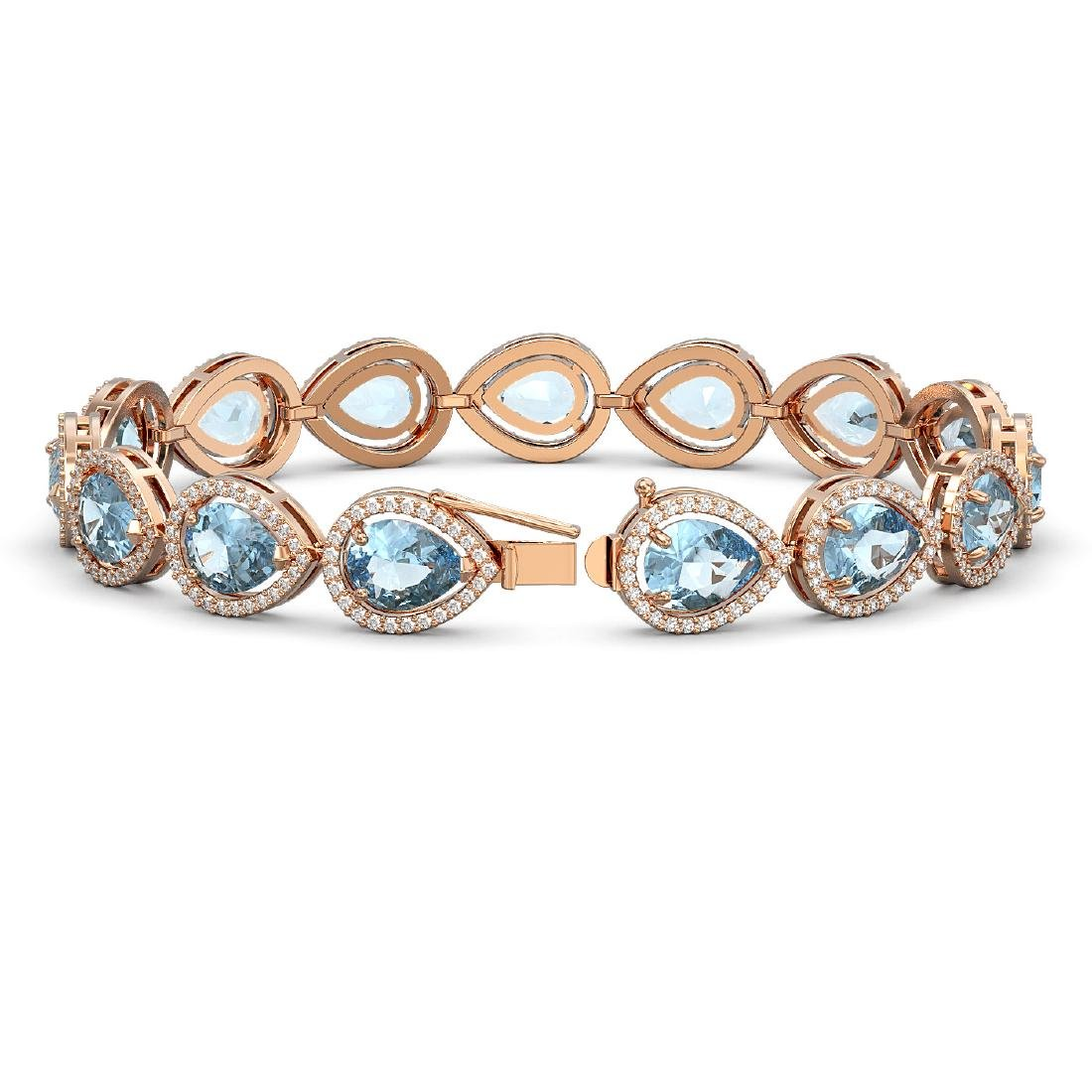 19.85 CTW Aquamarine & Diamond Halo Bracelet 10K Rose