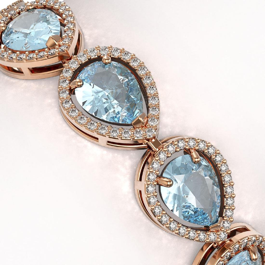 19.85 CTW Aquamarine & Diamond Halo Bracelet 10K Rose - 2