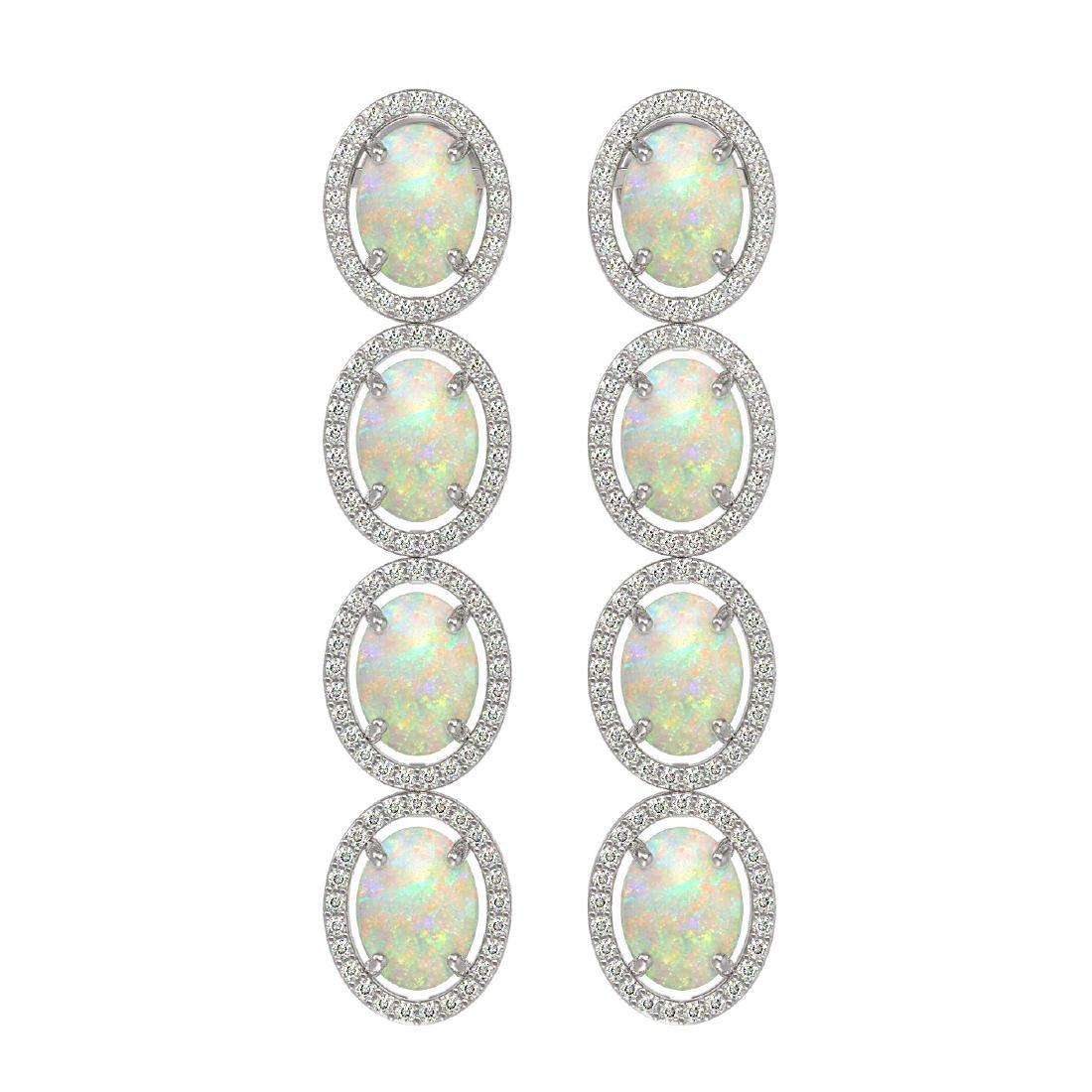 9.16 CTW Opal & Diamond Halo Earrings 10K White Gold