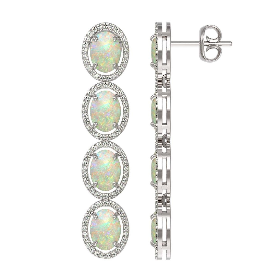 9.16 CTW Opal & Diamond Halo Earrings 10K White Gold - 2