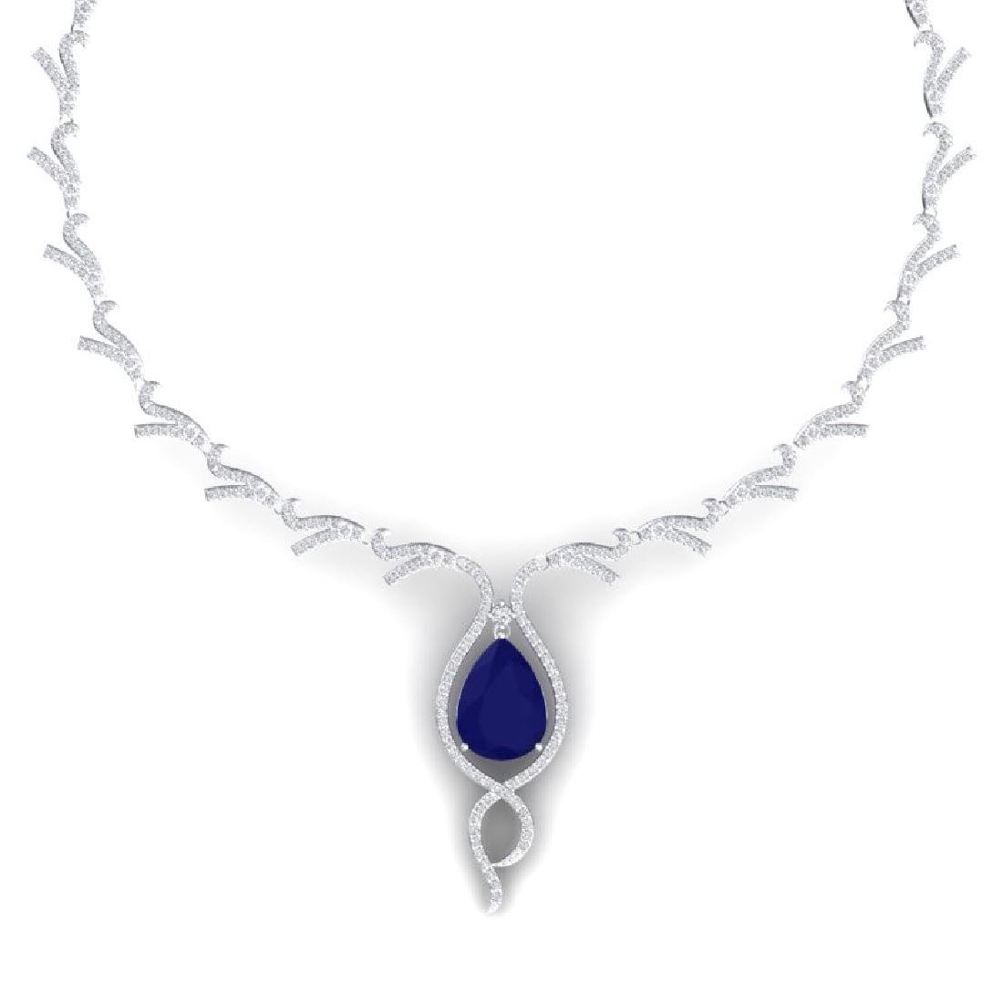 23.43 CTW Royalty Sapphire & VS Diamond Necklace 18K