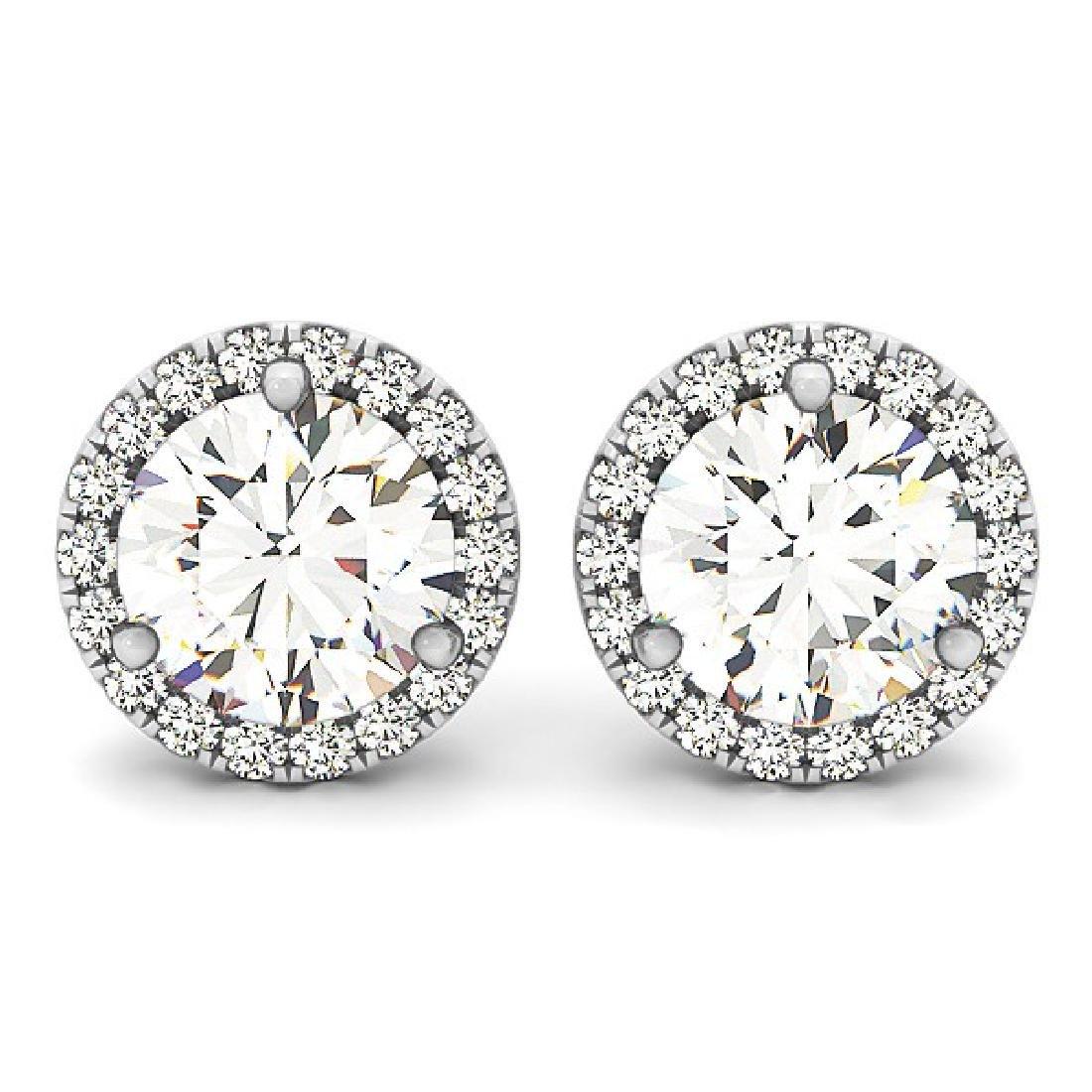 3.35 CTW Diamond Solitaire Earrings VS/SI Certified 14K - 2