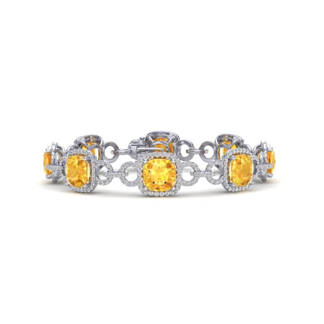 30 CTW Citrine & VS/SI Diamond Bracelet 14K White Gold