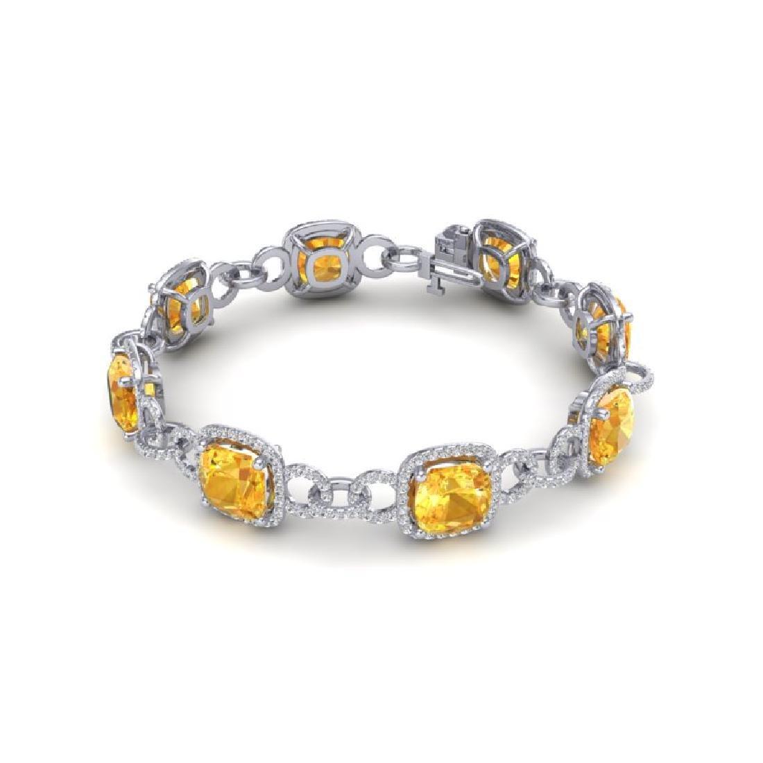 30 CTW Citrine & VS/SI Diamond Bracelet 14K White Gold - 2