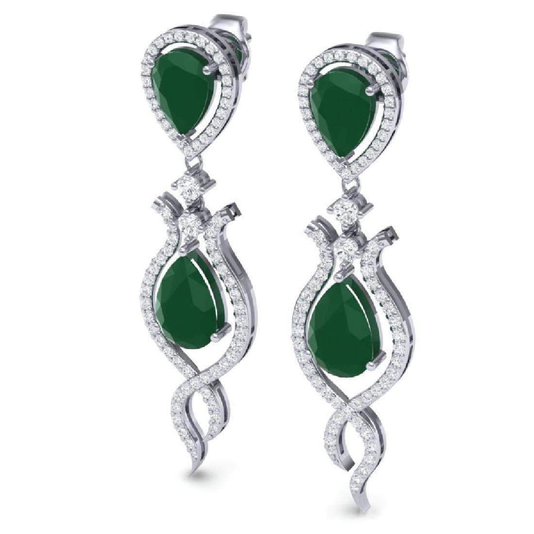 16.57 CTW Royalty Emerald & VS Diamond Earrings 18K - 2