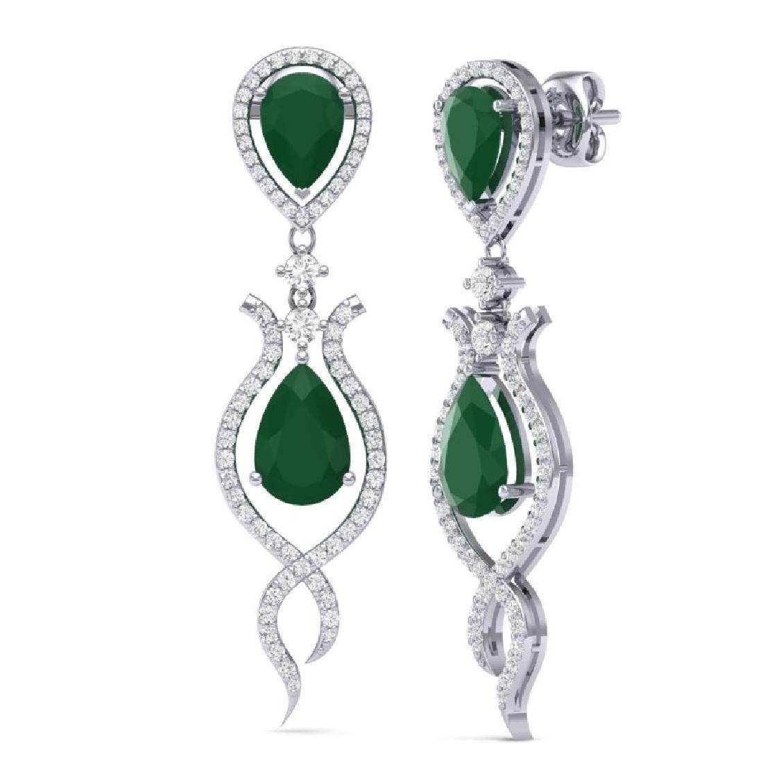 16.57 CTW Royalty Emerald & VS Diamond Earrings 18K - 3