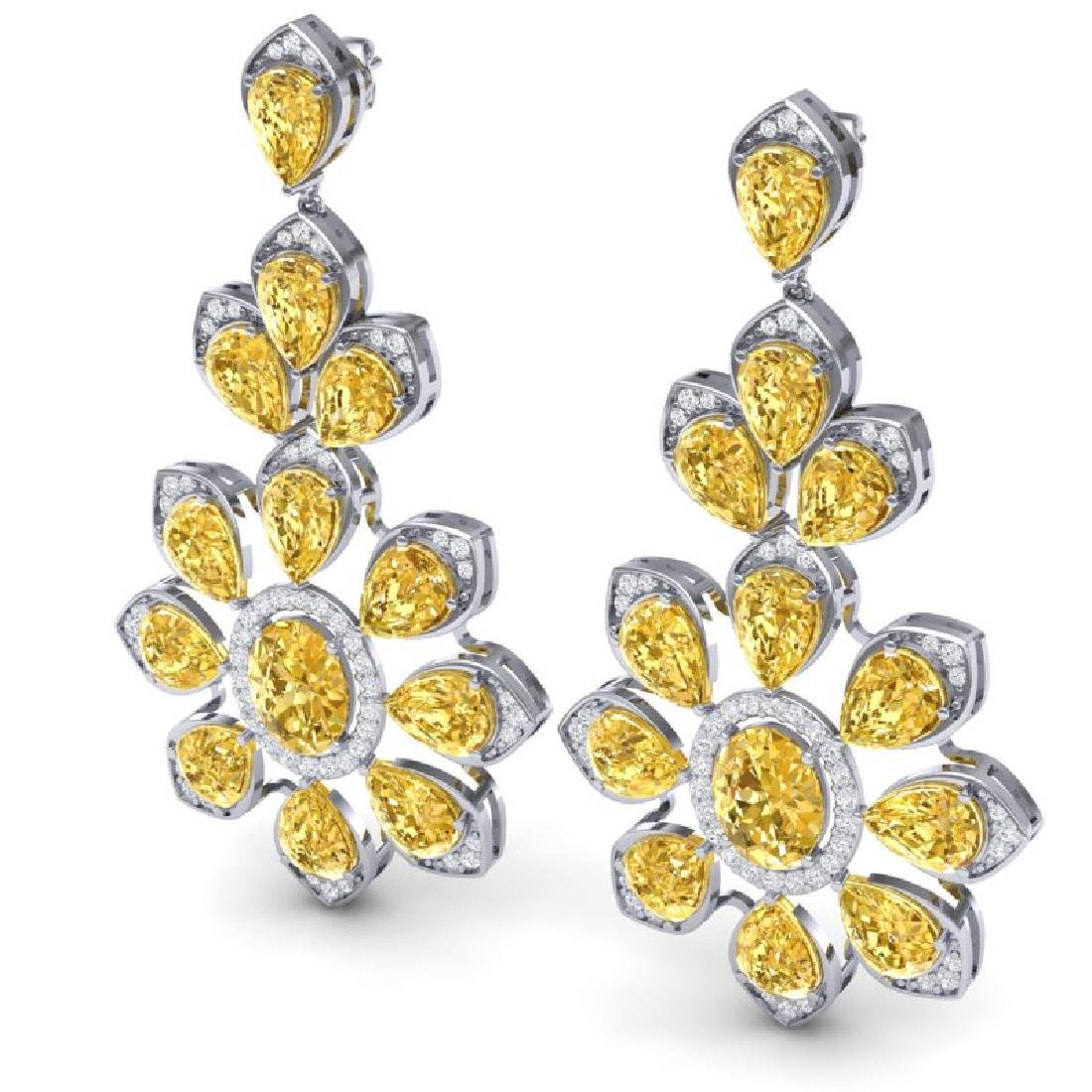 48.67 CTW Royalty Canary Citrine & VS Diamond Earrings - 2