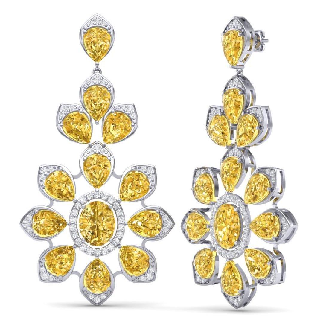 48.67 CTW Royalty Canary Citrine & VS Diamond Earrings - 3