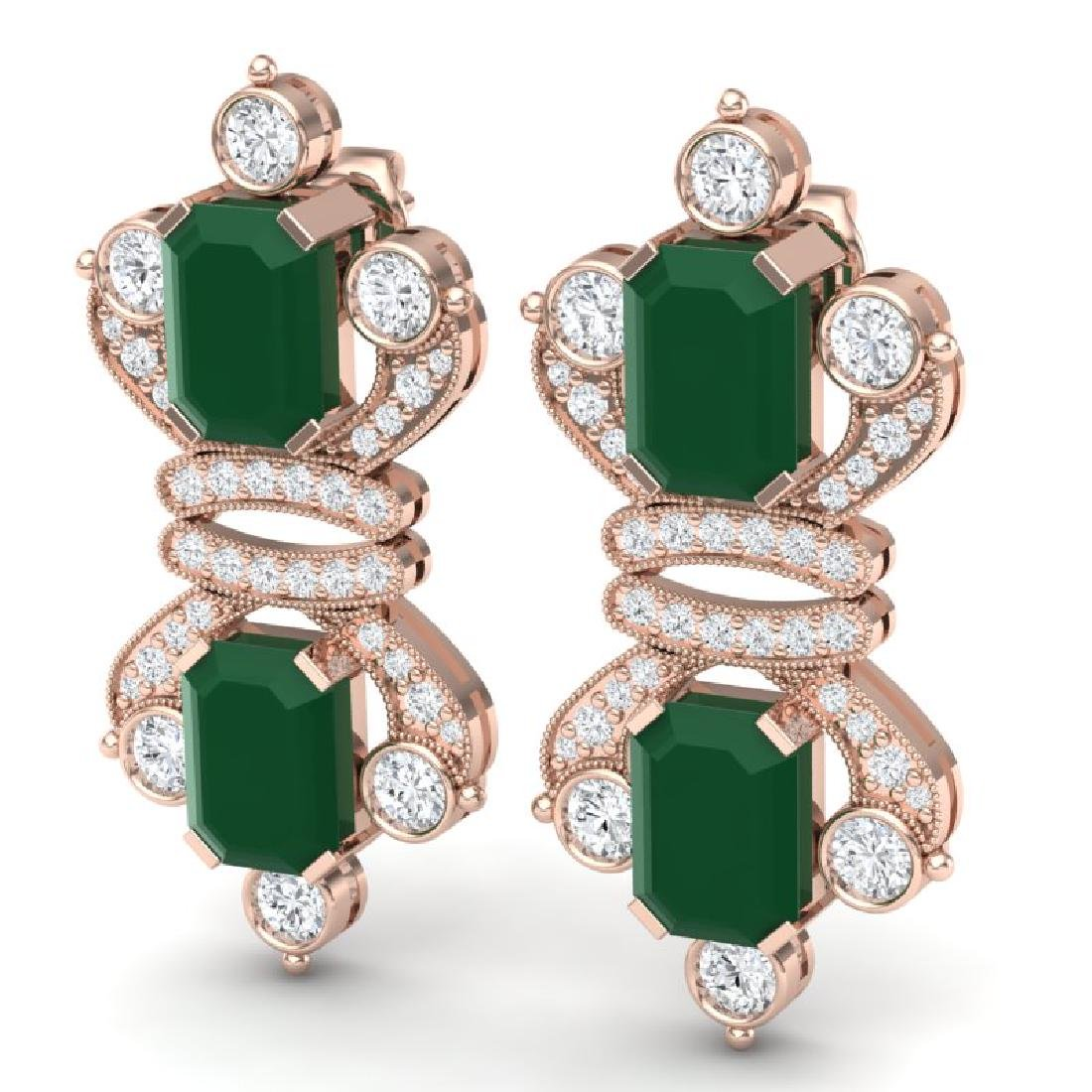 27.36 CTW Royalty Emerald & VS Diamond Earrings 18K - 2