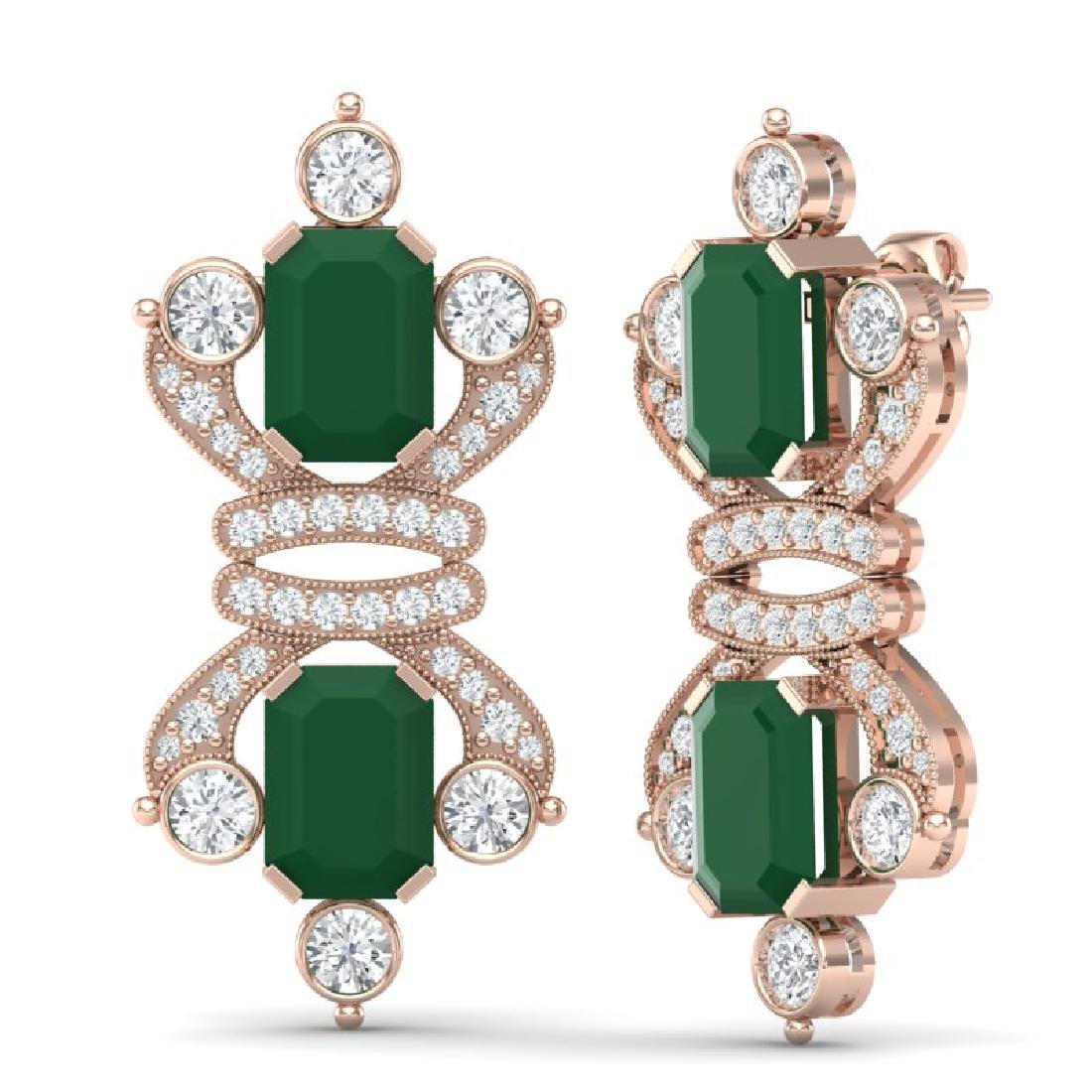 27.36 CTW Royalty Emerald & VS Diamond Earrings 18K - 3