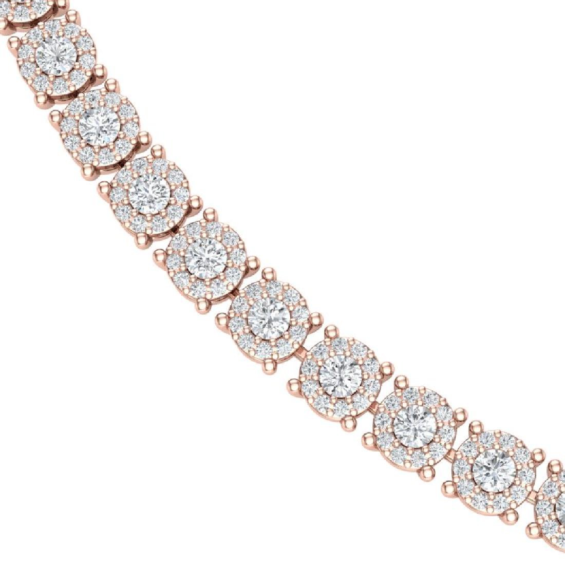 12 CTW Certified SI/I Diamond Halo Necklace 18K Rose - 2