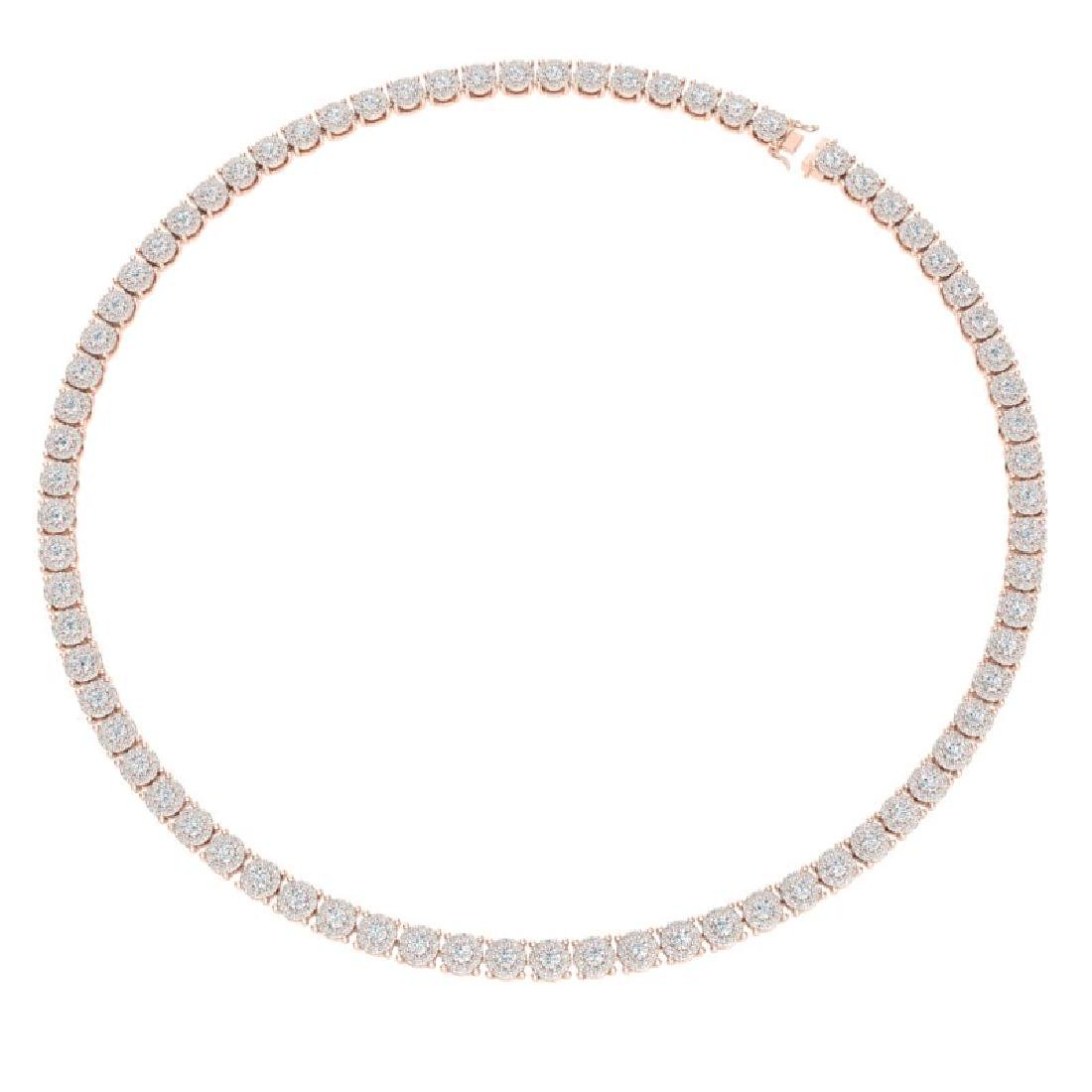12 CTW Certified SI/I Diamond Halo Necklace 18K Rose - 3