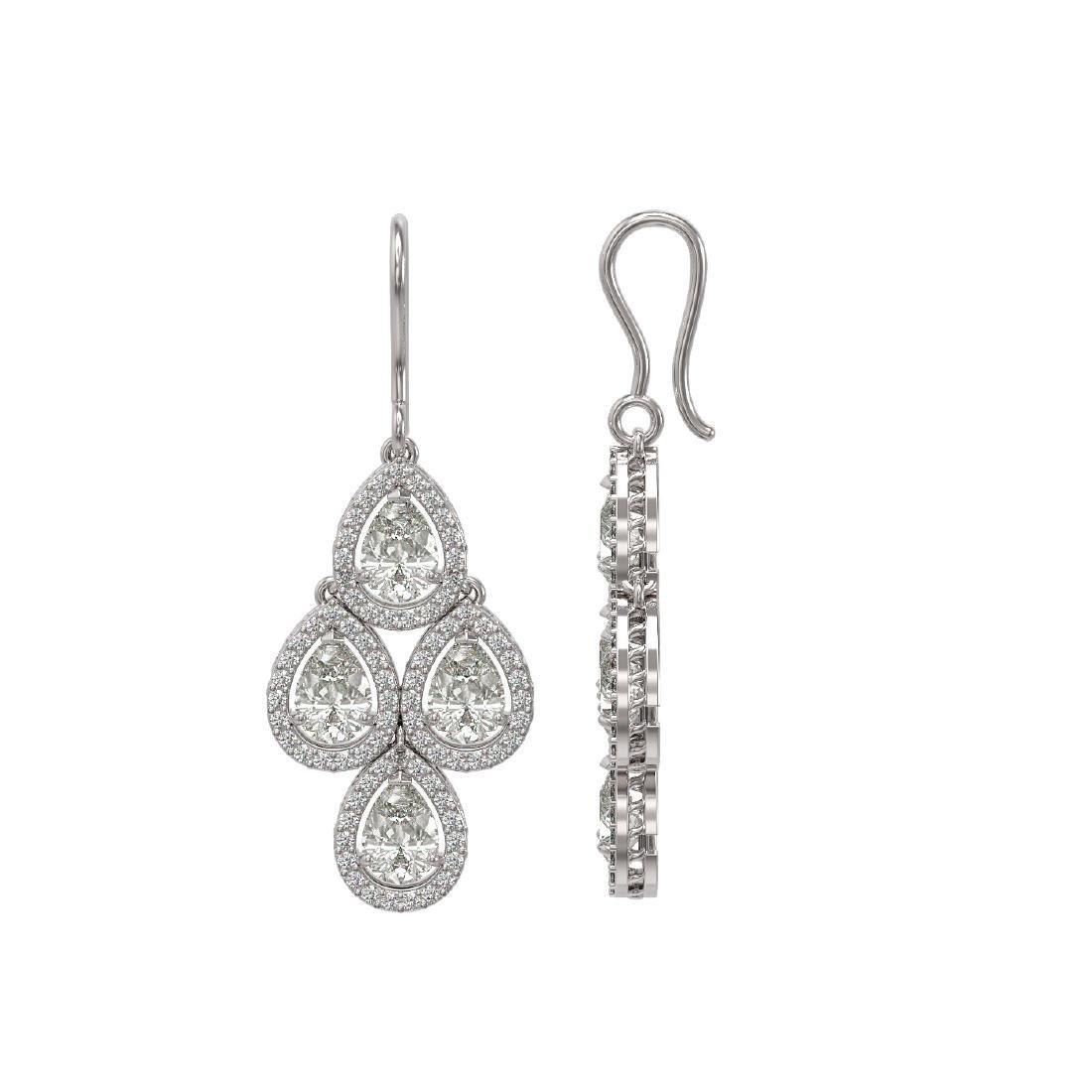 5.85 CTW Pear Diamond Designer Earrings 18K White Gold - 2