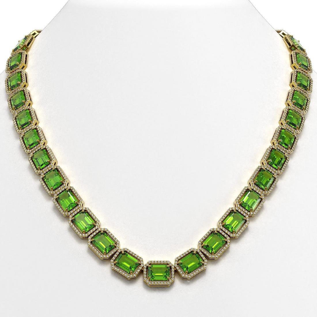73.41 CTW Peridot & Diamond Halo Necklace 10K Yellow