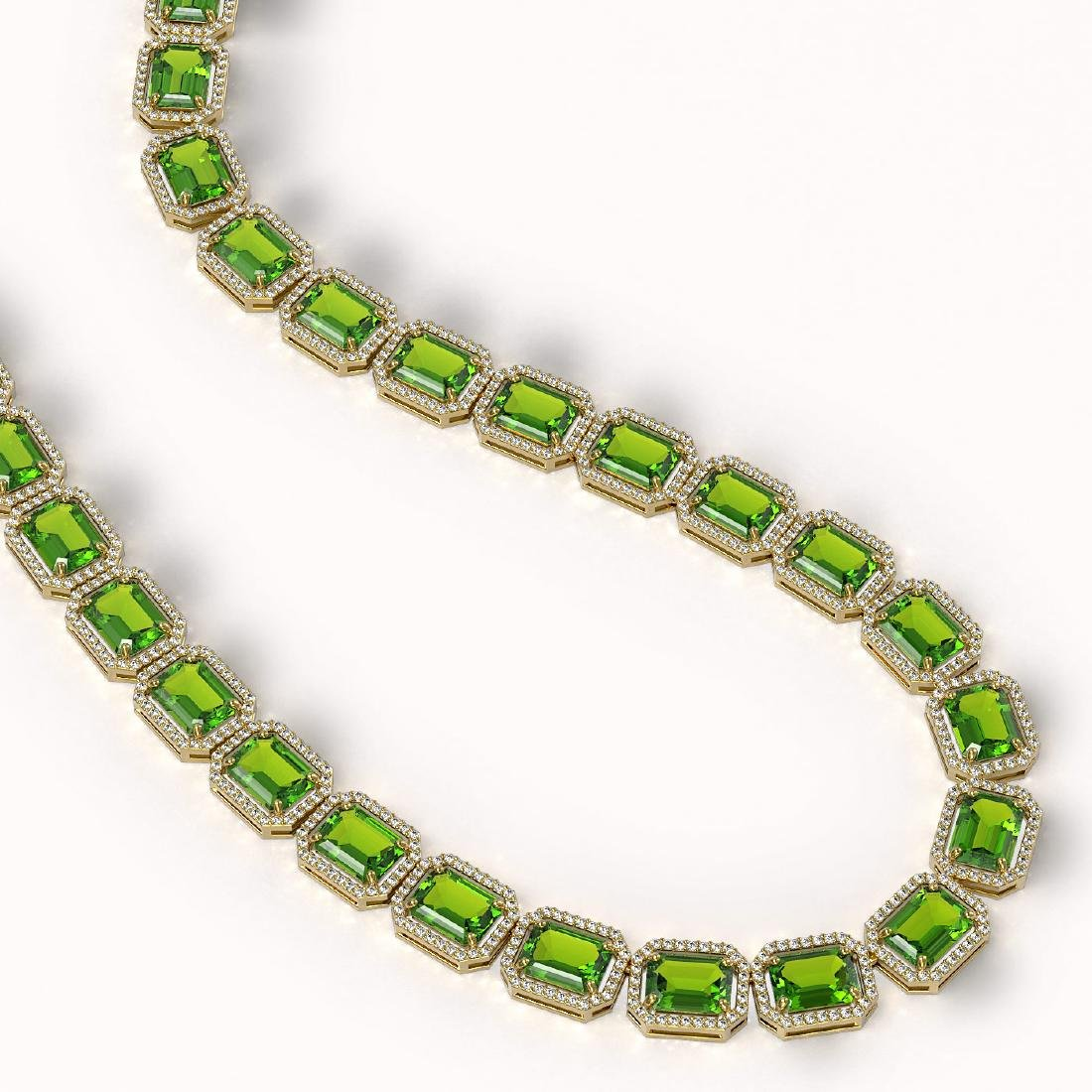 73.41 CTW Peridot & Diamond Halo Necklace 10K Yellow - 2