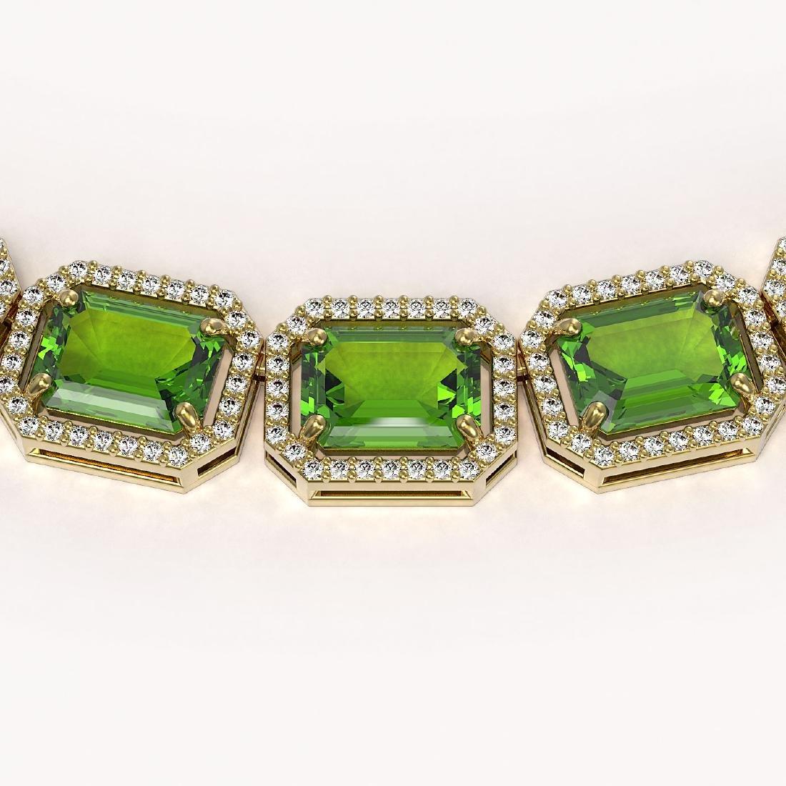 73.41 CTW Peridot & Diamond Halo Necklace 10K Yellow - 3