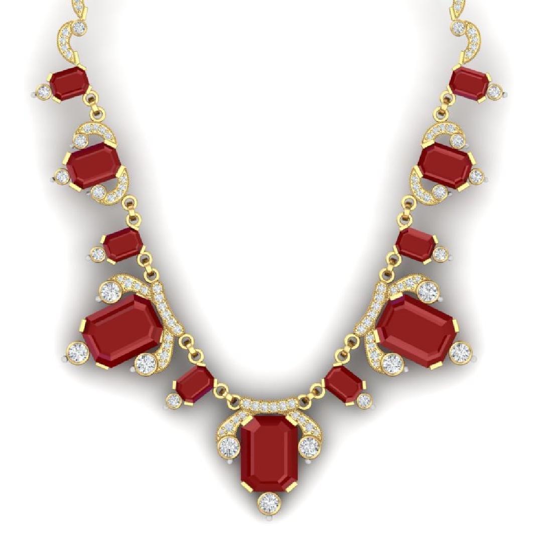 75.21 CTW Royalty Ruby & VS Diamond Necklace 18K Yellow