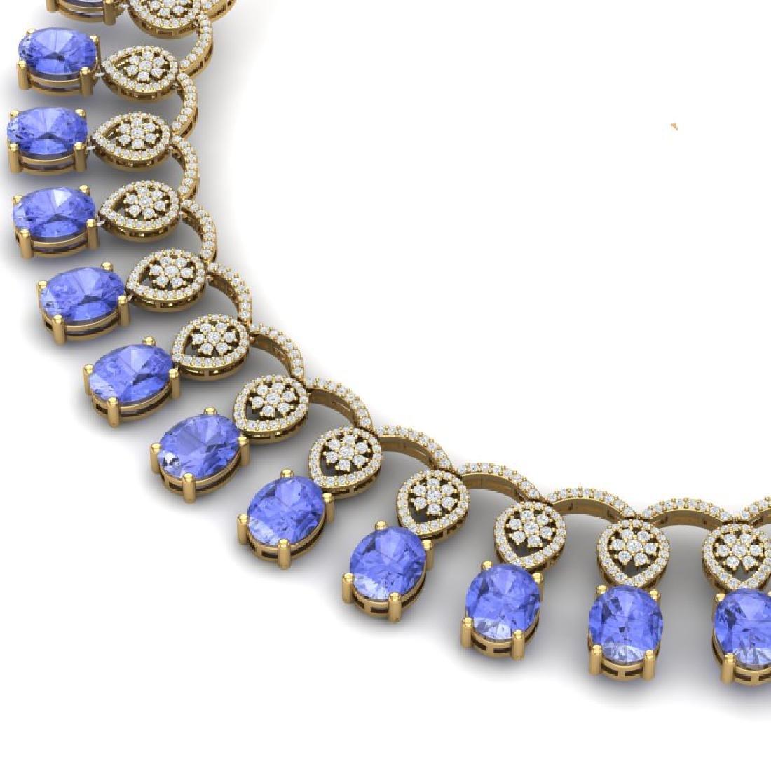 45.56 CTW Royalty Tanzanite & VS Diamond Necklace 18K