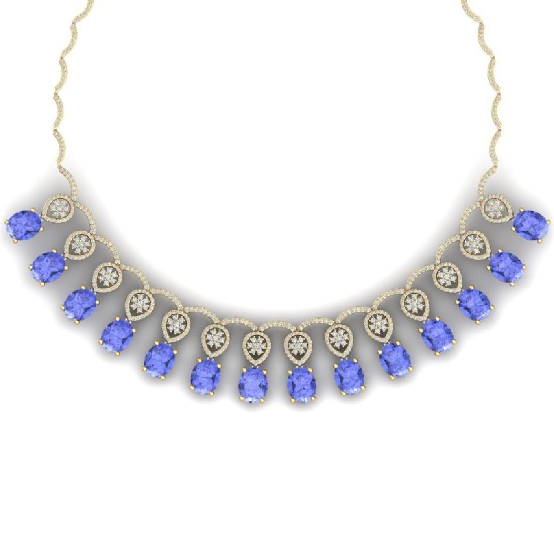 45.56 CTW Royalty Tanzanite & VS Diamond Necklace 18K - 2