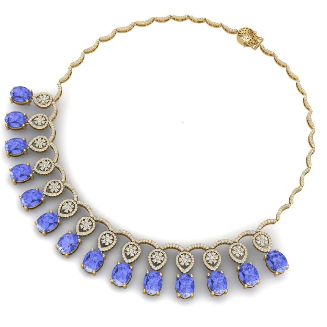 45.56 CTW Royalty Tanzanite & VS Diamond Necklace 18K - 3