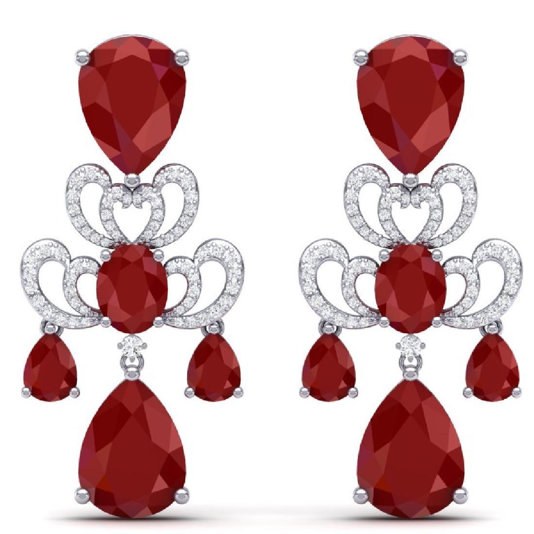 58.73 CTW Royalty Designer Ruby & VS Diamond Earrings