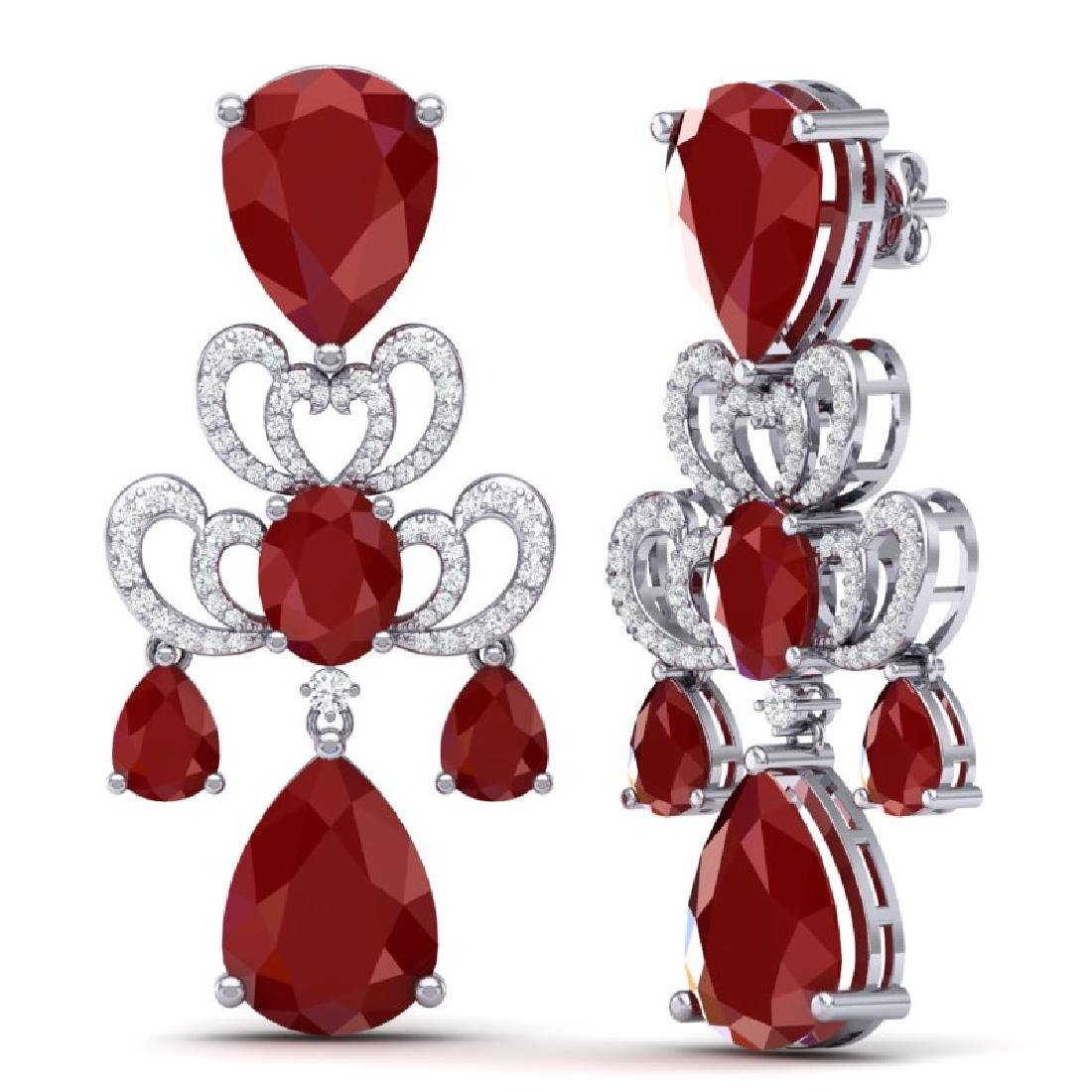 58.73 CTW Royalty Designer Ruby & VS Diamond Earrings - 3