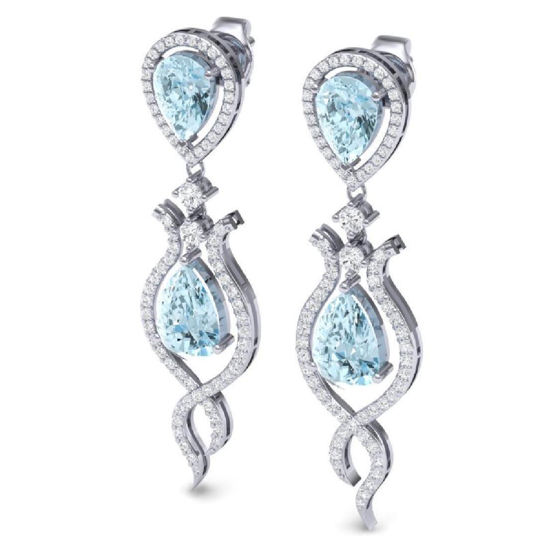 16.57 CTW Royalty Sky Topaz & VS Diamond Earrings 18K