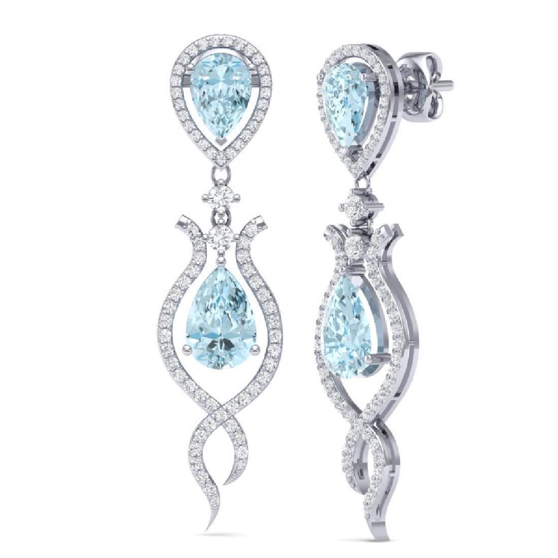 16.57 CTW Royalty Sky Topaz & VS Diamond Earrings 18K - 2