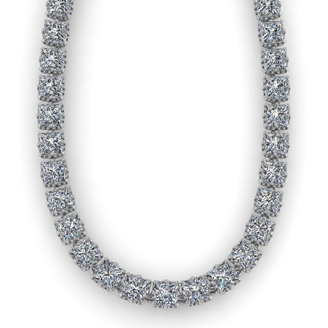 34 CTW Cushion Cut SI Certified Diamond Necklace 14K - 2