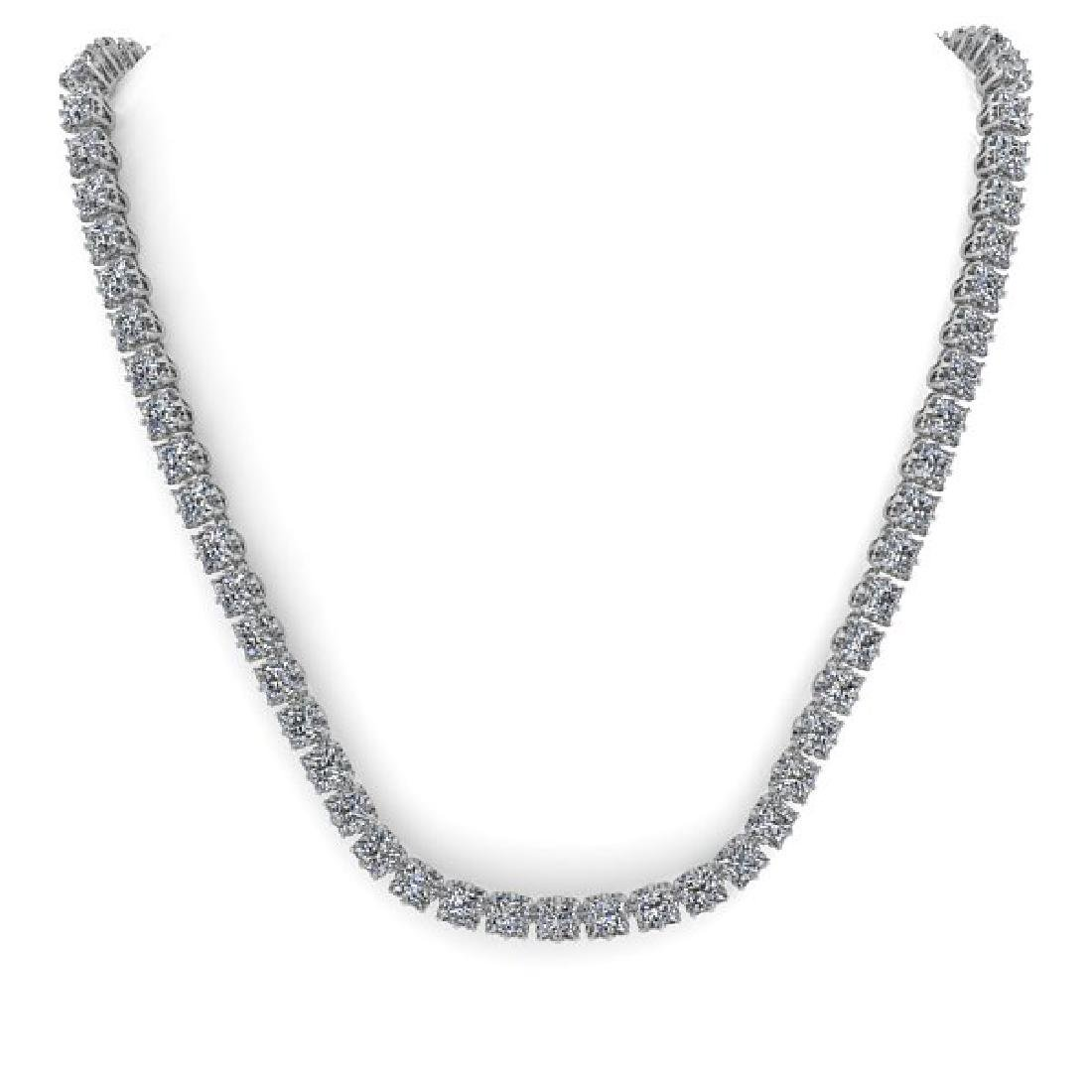 34 CTW Cushion Cut SI Certified Diamond Necklace 14K - 3