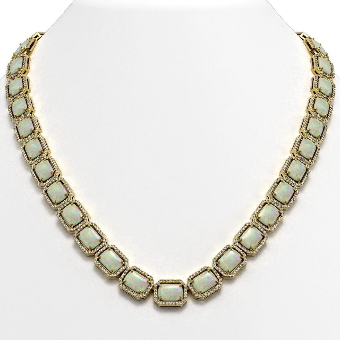 53.59 CTW Opal & Diamond Halo Necklace 10K Yellow Gold