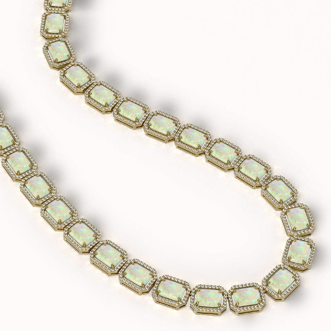 53.59 CTW Opal & Diamond Halo Necklace 10K Yellow Gold - 2
