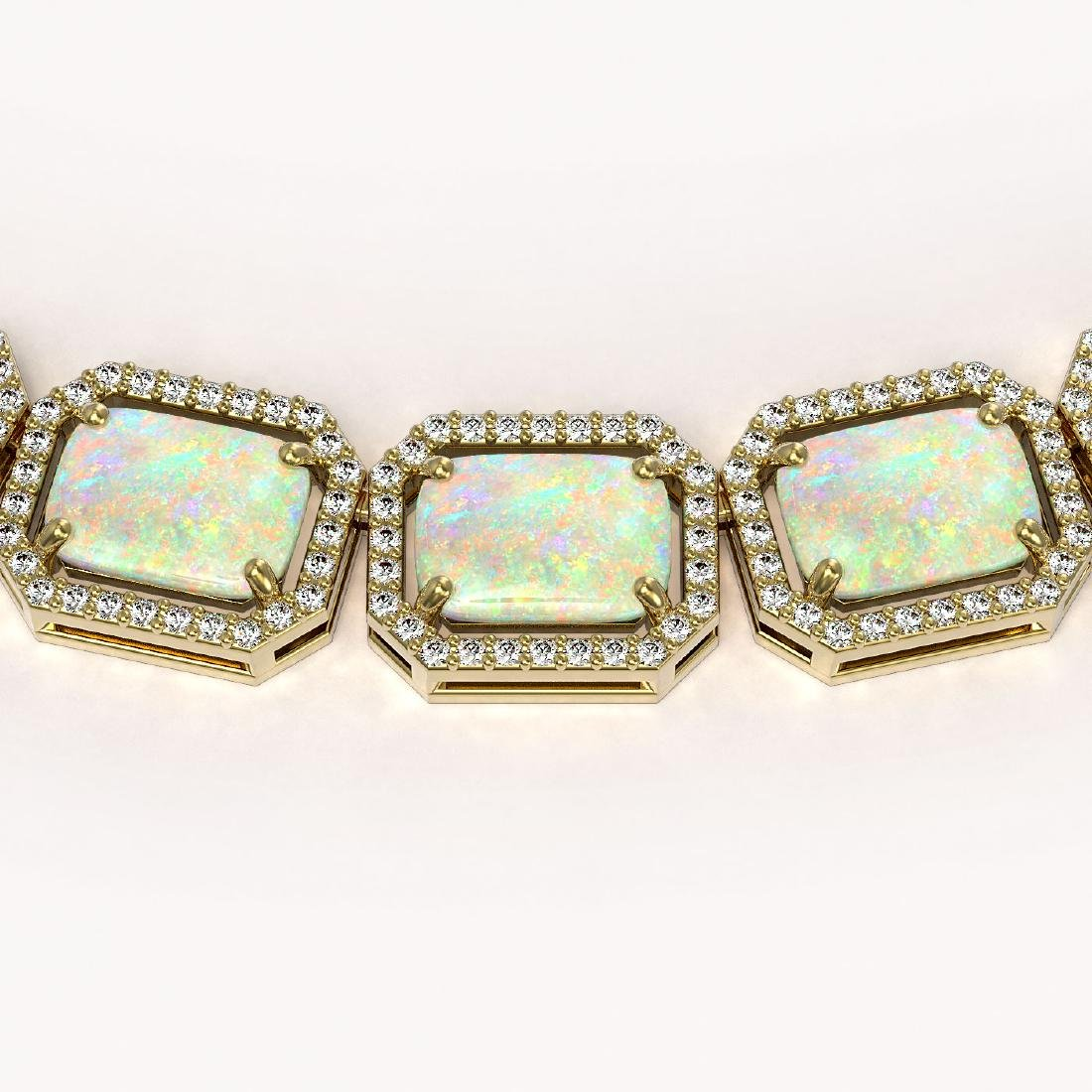 53.59 CTW Opal & Diamond Halo Necklace 10K Yellow Gold - 3