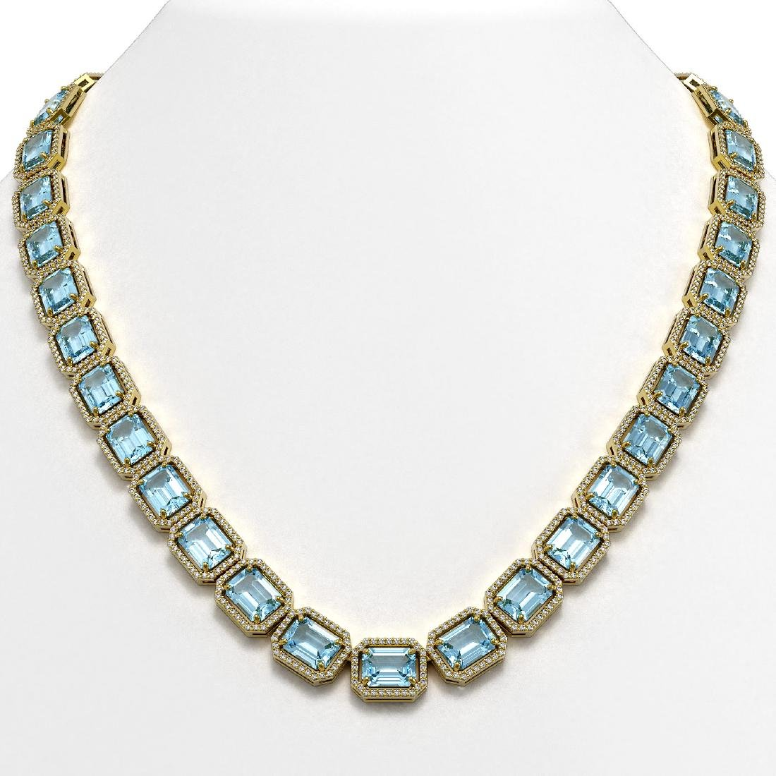 80.98 CTW Aquamarine & Diamond Halo Necklace 10K Yellow