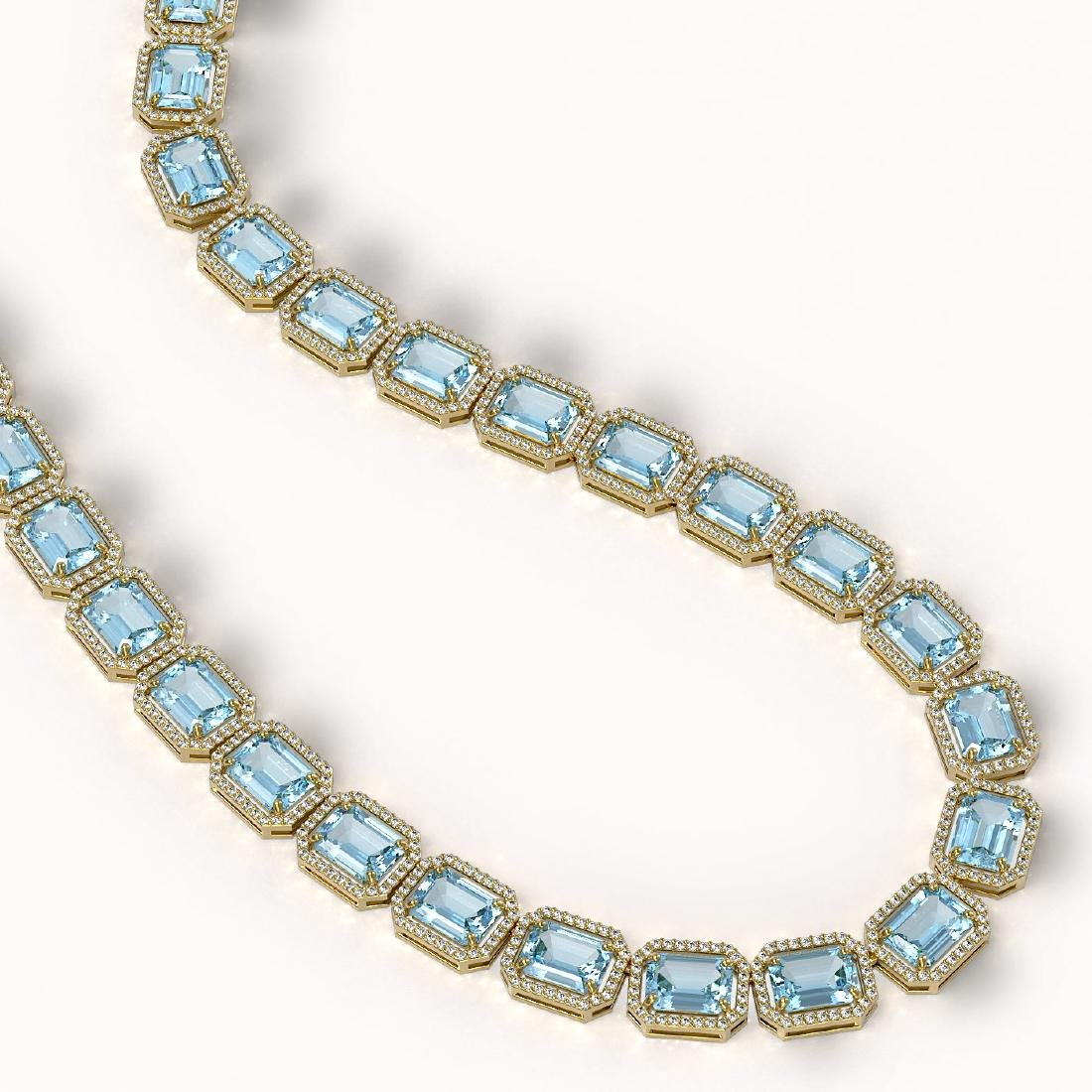 80.98 CTW Aquamarine & Diamond Halo Necklace 10K Yellow - 2