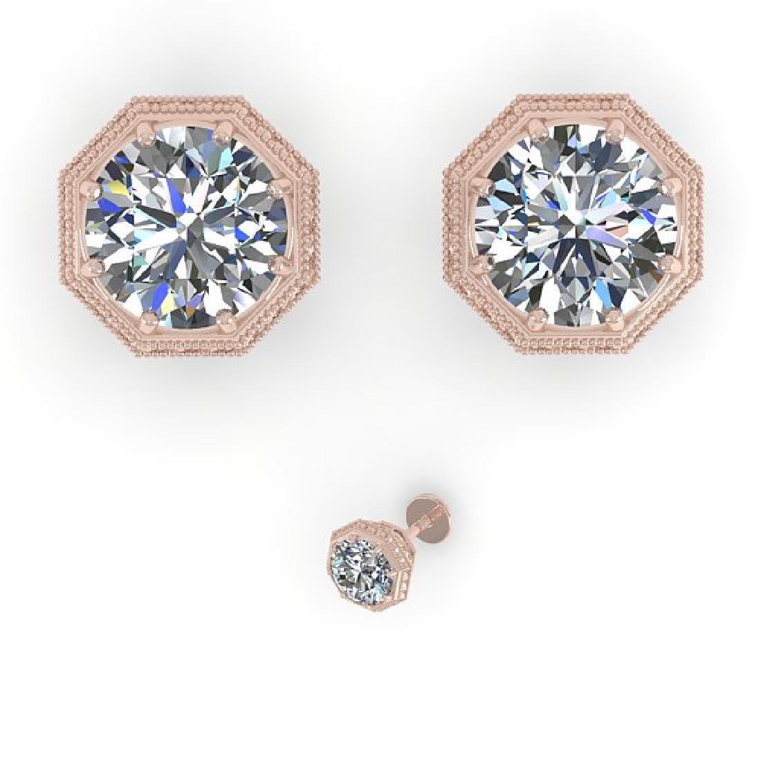 2 CTW VS/SI Diamond Stud Solitaire Earrings 18K Rose