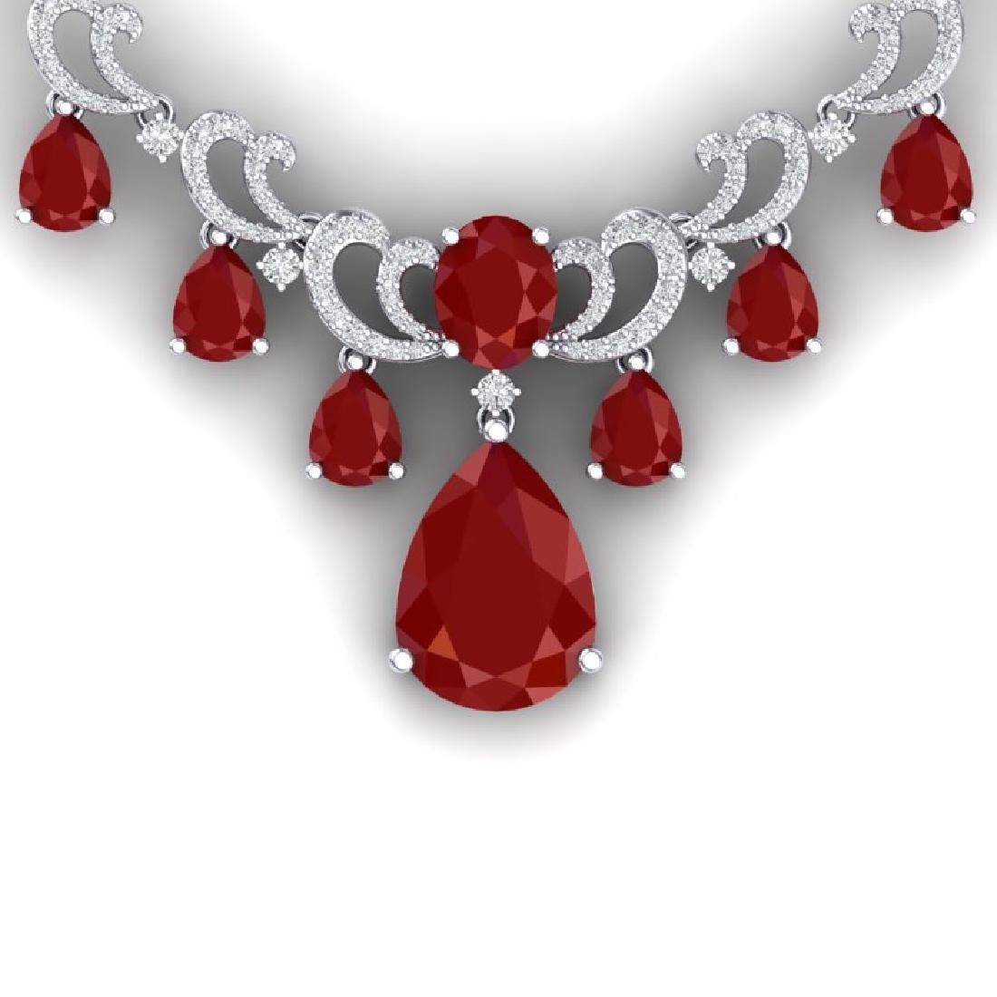 36.85 CTW Royalty Ruby & VS Diamond Necklace 18K White