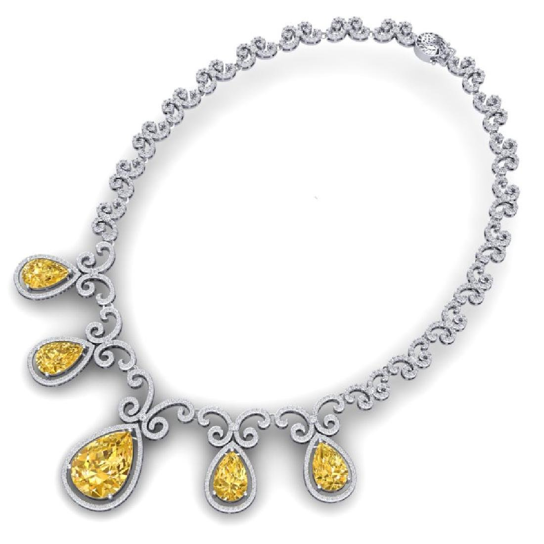36.1 CTW Royalty Canary Citrine & VS Diamond Necklace - 3