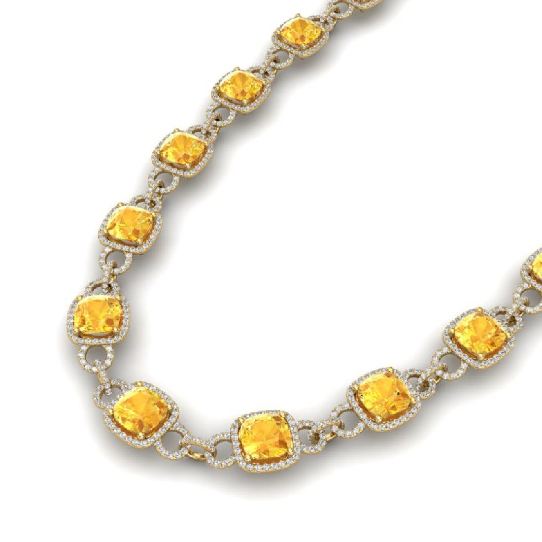 66 CTW Citrine & VS/SI Diamond Necklace 14K Yellow Gold
