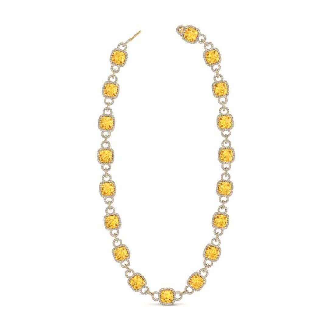 66 CTW Citrine & VS/SI Diamond Necklace 14K Yellow Gold - 2