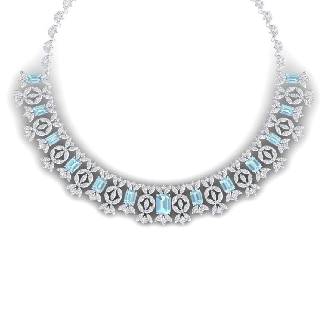 53.14 CTW Royalty Sky Topaz & VS Diamond Necklace 18K
